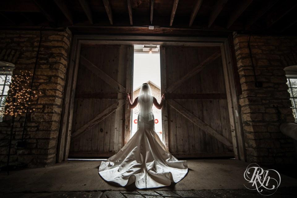 Bride opening barn doors