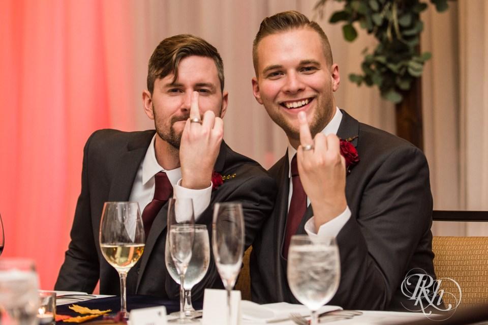 Minnesota LGBT Wedding Photographer grooms with rings