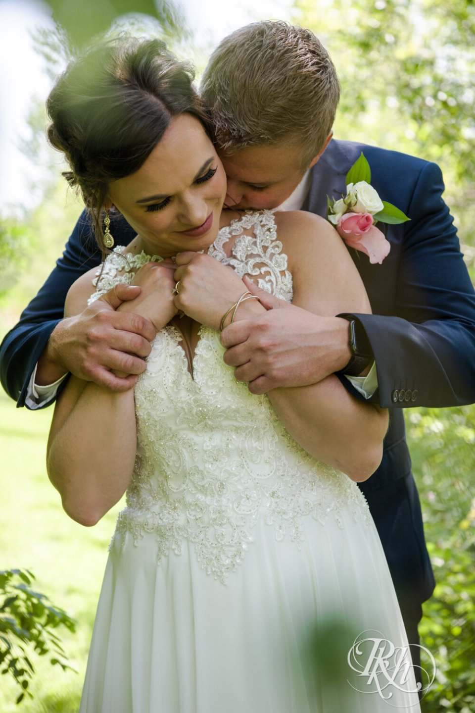 Bride and groom photo in August