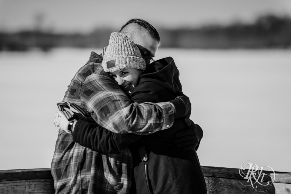 couple hugging on dock of Cleary Lake