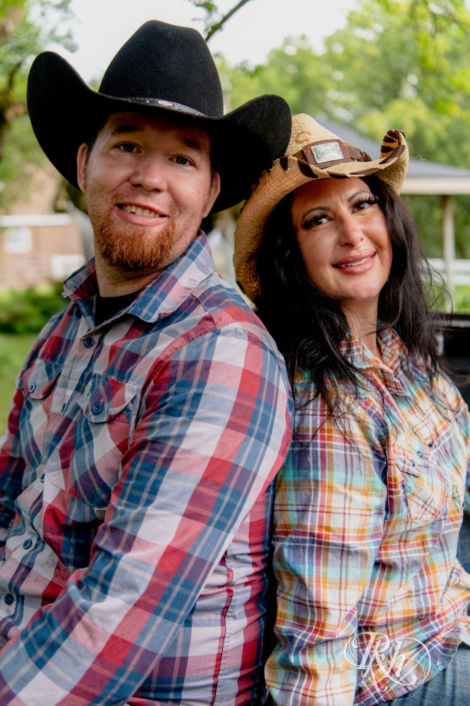 engagement photography cowboy hats flannel