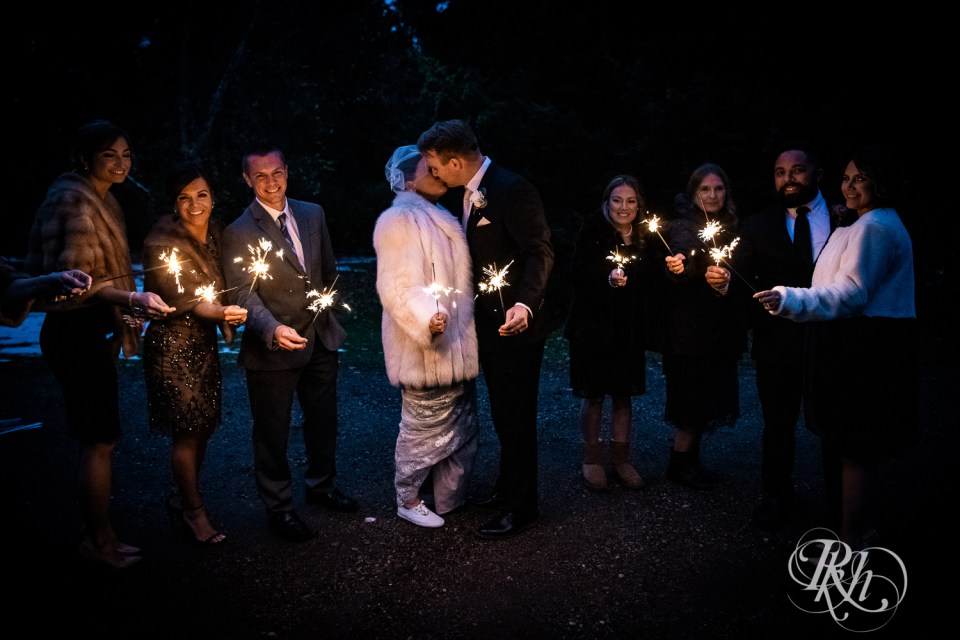 Cabin Wedding sparkler photo