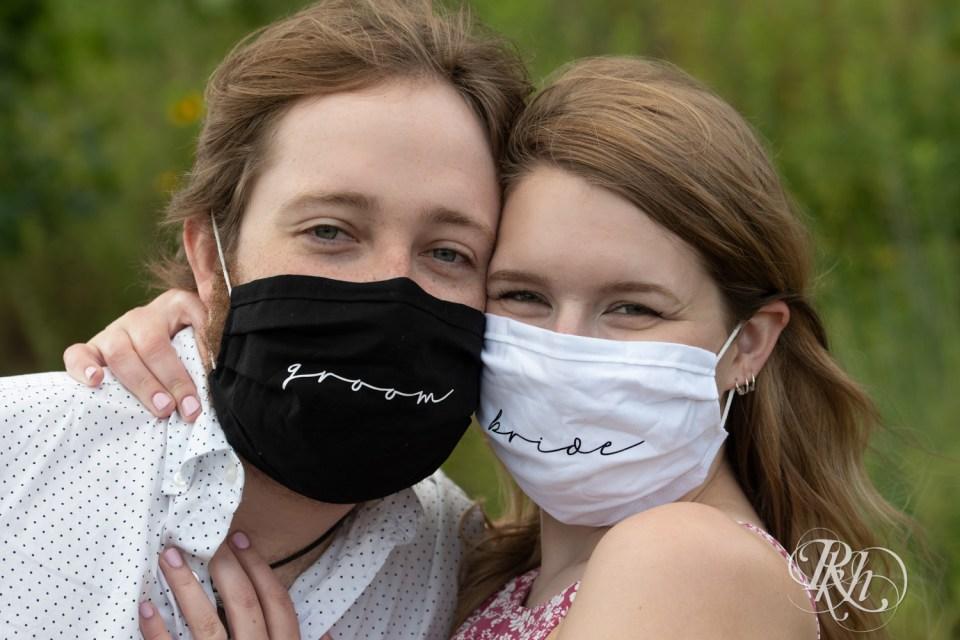 engagement photography couple wearing masks