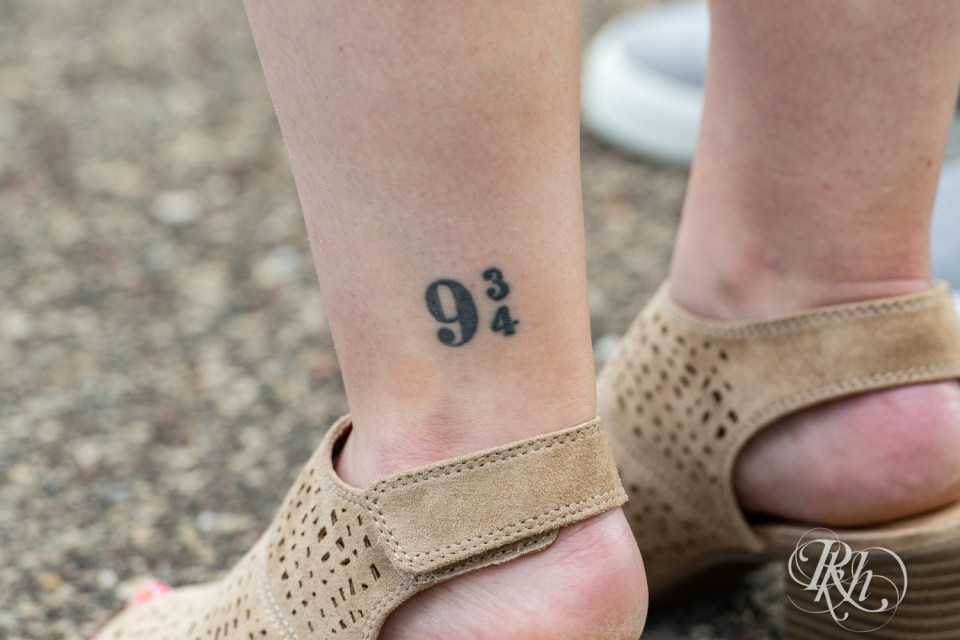 harry potter leg tattoo