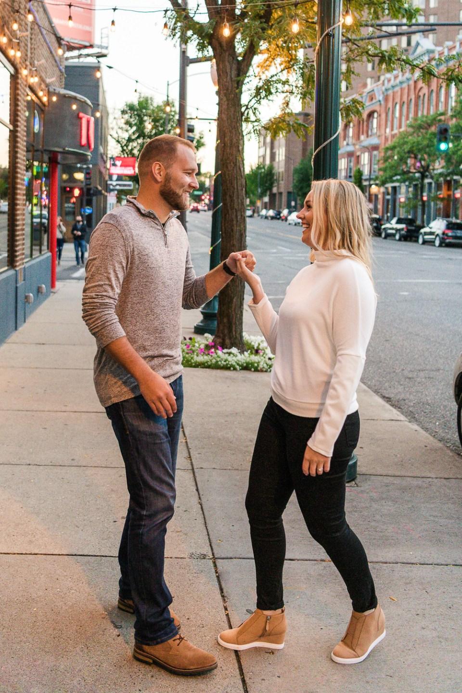 couple dancing in street