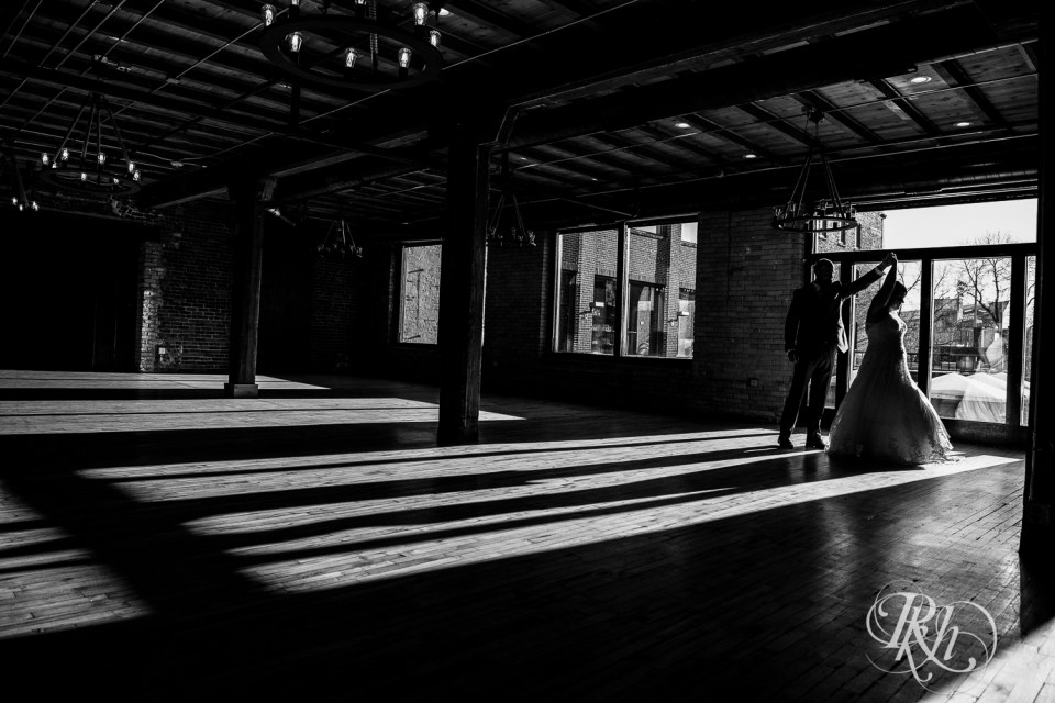 minneapolis event centers bride and groom dance silhouette