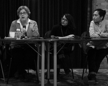 Barbara Jackman, Swathi Sekhar and Jean Marie Vecina discuss Habeas Corpus and immigration detention, at the RLA AGM, photo by ©j.martin/sevres-babylone