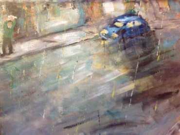 Blue Car in the Rain