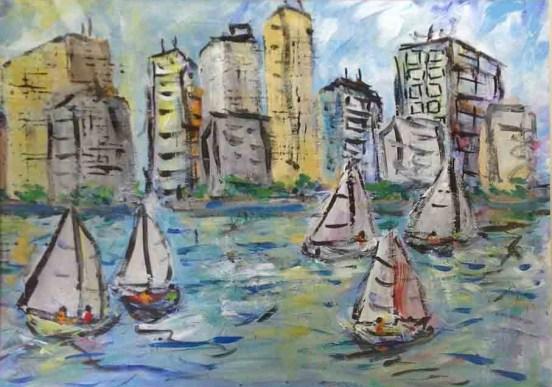 Sailboats and City