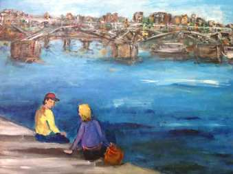 Two Lovers By the River Seine