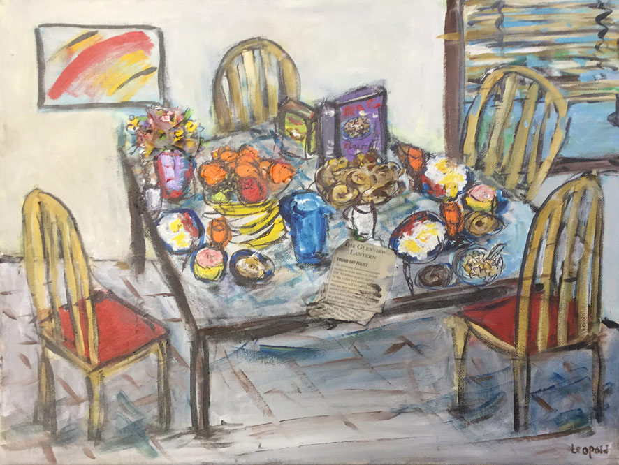 "Original Painting ""Breakfast Is Served"" by Bob Leopold"