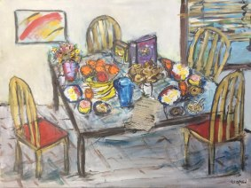 """Original Painting """"Breakfast Is Served"""" by Bob Leopold"""