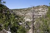 Walnut Canyon : on y aperçoit les habitations à flanc de falaise