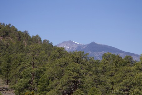 Twin Peaks seen from Flagstaff. There is still snow at the top.