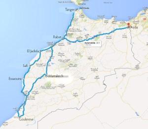 Le chemin parcouru au Maroc - Cliquez pour agrandir dans un nouvel onglet