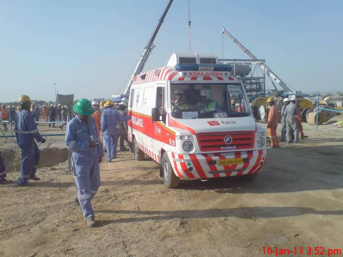 Ambulance at contraction site