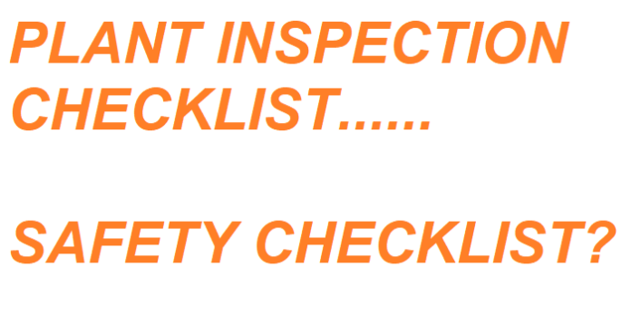 Checklist for plant inspection