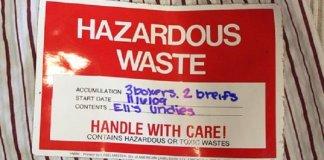Hazardous waste sticker