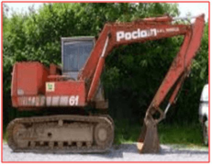 excavator resting on the ground
