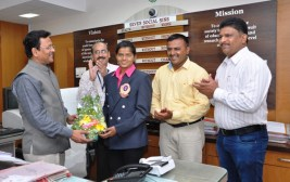 Miss.Nikita Ganesh Ambuskar, B.Sc. II was felicitated by Dr. M.G. Chandekar Hon'ble Vice-Chancellor of Sant Gadge Baba Amravati University; Amravati on 18th June 2016 for secured Bronze Medal in All India Inter University Wrestling Tournament held at Mysore, Karnataka and participated in National Selection Trial for World University Wrestling Games June, 2016 at Rohtak, Hariyana.