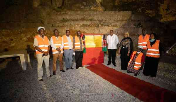 President Uhuru Kenyatta on Wednesday evening inspected the ongoing construction of a 270-metre long wall to protect the cliff holding Fort Jesus.