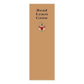 Cute Brown Bear Reading Read Learn Grow Bookmark profilecard
