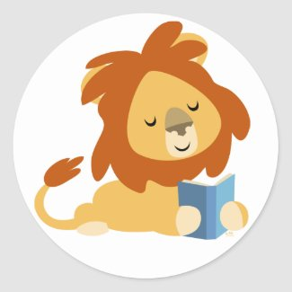 Reading Cartoon Lion round sticker sticker