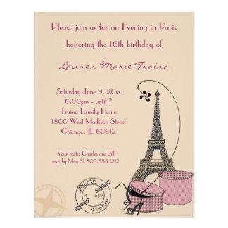 Ein Abend in rosa Themed Party Einladung Paris