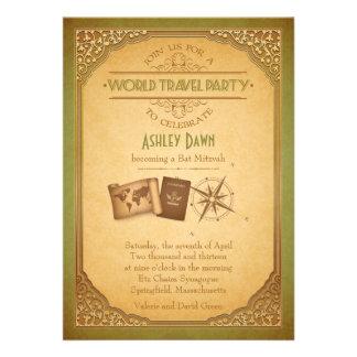 Vintage Weltreise-Schläger Mitzvah Einladung