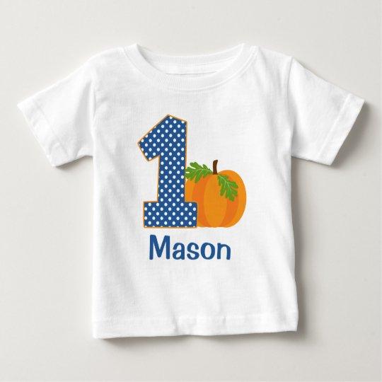 1st Birthday Boy Fall Pumpkin Personalized Baby T Shirt Zazzle Ca