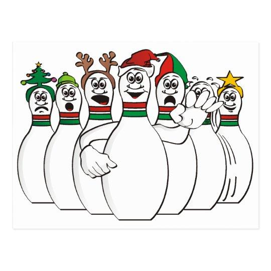Christmas Bowling Pins Postcard Zazzleca