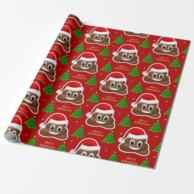 Christmas Poop Emoji With Santa Hat Wrapping Paper Zazzleca