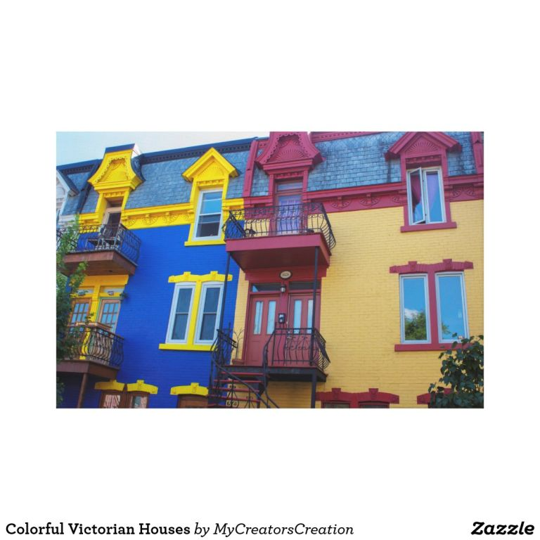 Colorful Victorian Houses Canvas Print