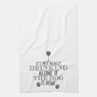 Drinking With The Dog - Grey | Funny Kitchen Towel