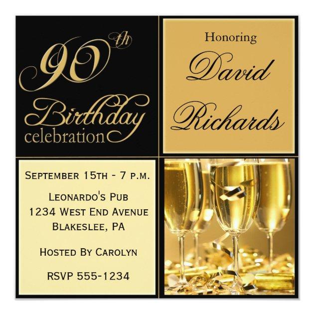 Elegant 90th Birthday Party Invitations Zazzleca