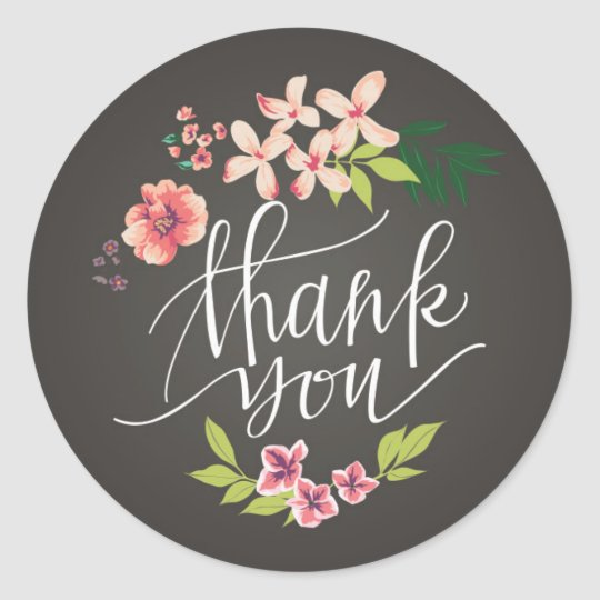 Flowers On Chalkboard Thank You Sticker Zazzleca
