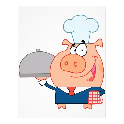 funny piggy pig waiter wearing chefs hat custom flyer | Zazzle