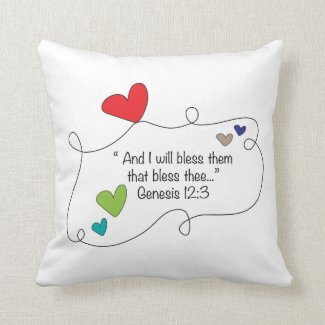 Genesis 12:3 I will bless them Christian Heart Pillow