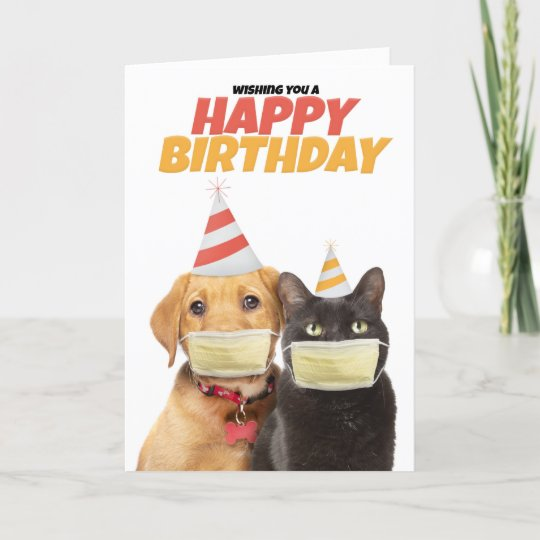 Happy Birthday Social Distancing Cat And Dog Humor Holiday Card Zazzle Ca