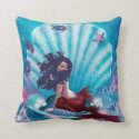 Mermaid in Shell Throw Pillow