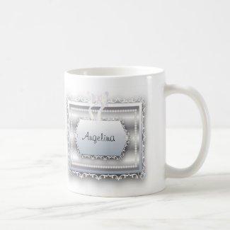 Monogram Pearls Bride w/ Galatians 2:20 Quote Basic White Mug
