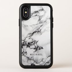 Stylish White Marble Texture with Custom Name OtterBox iPhone Case