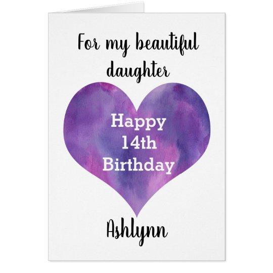 Watercolor Purple Heart 14th Birthday Daughter Zazzle Ca
