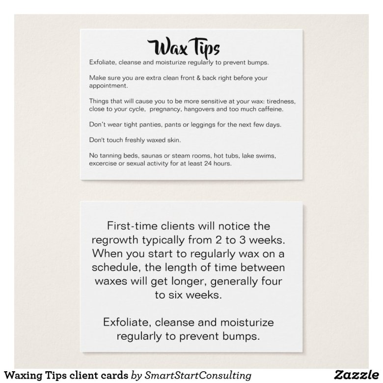 Waxing Tips client cards