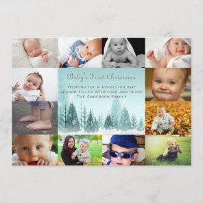 12 Photo Winter Landscape Collage - 5x7 Baby Holiday Card