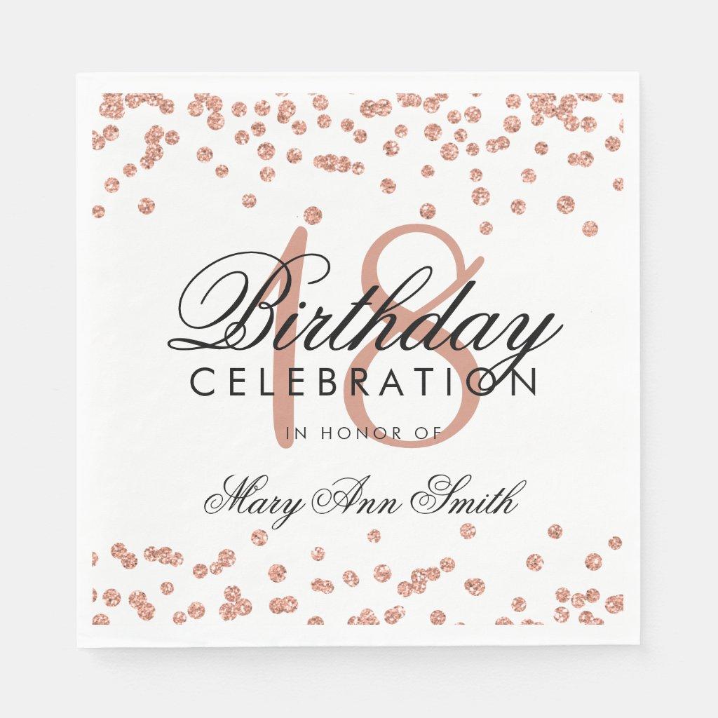 18th Birthday Rose Gold Glitter Confetti White Disposable Serviette