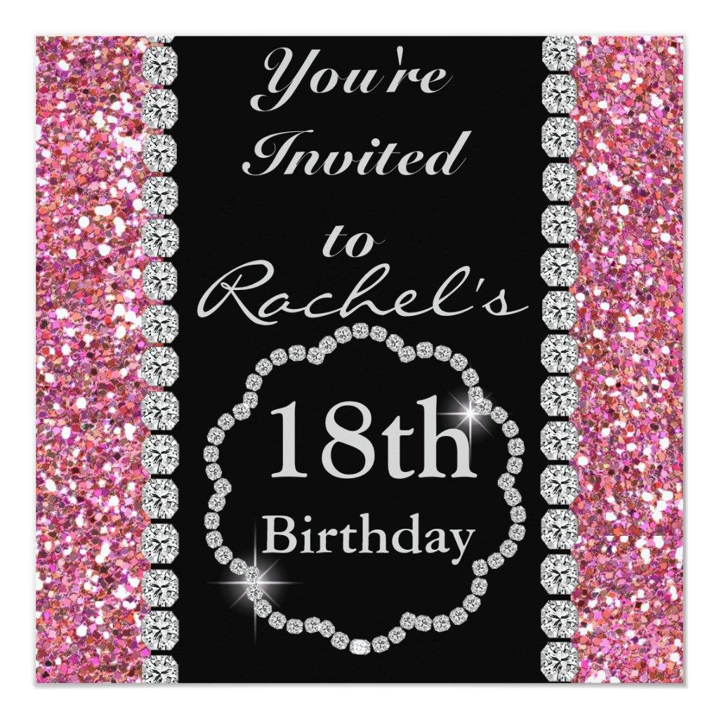 18th BLING Birthday Party Invitation