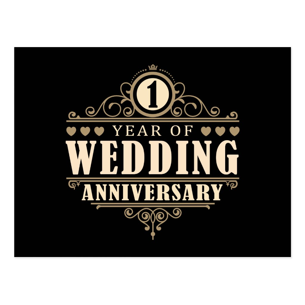 1st Wedding Anniversary Postcard