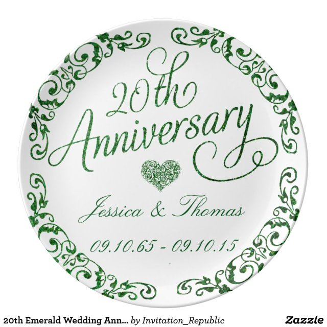 20th Emerald Wedding Anniversary Decorative Plate