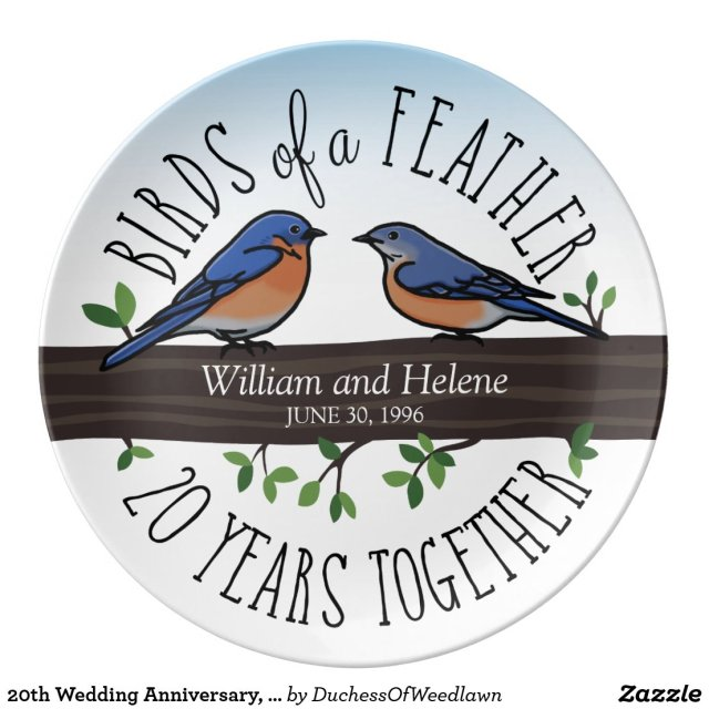 20th Wedding Anniversary Plate
